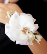 White Orchid and Rose Wristlet