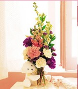 Baby Gifts of Flowers, Floral Vase with Stuffed Bear Jamaica